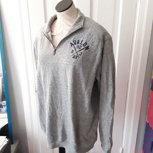 Tops - Avalon NJ Light Gray Quarter Zip Sweatshirt